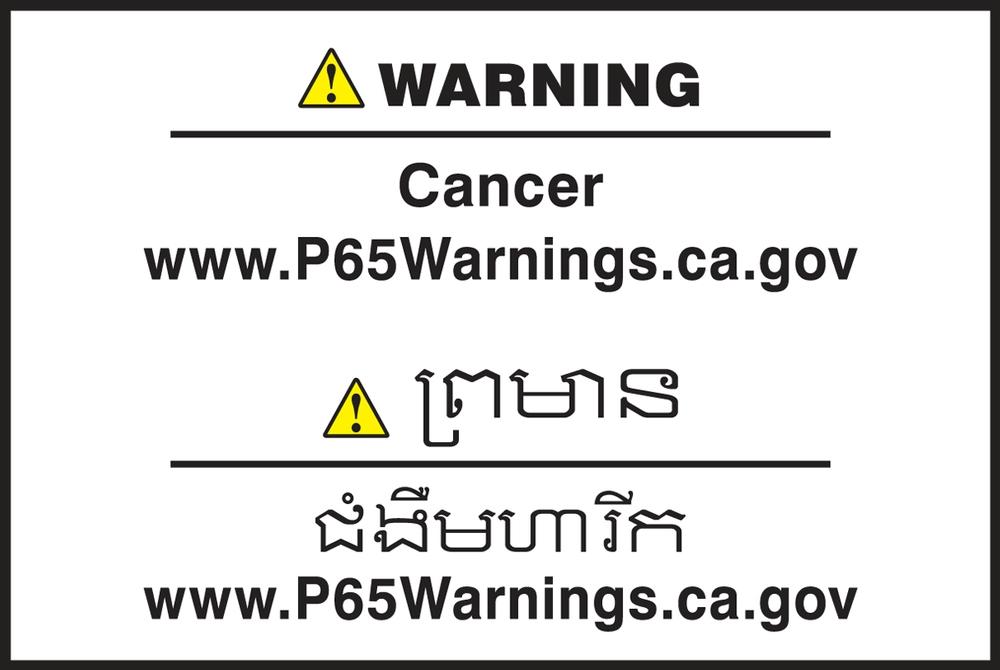 Multilingual Prop 65 Label: Cancer - CBLCAW620PSP