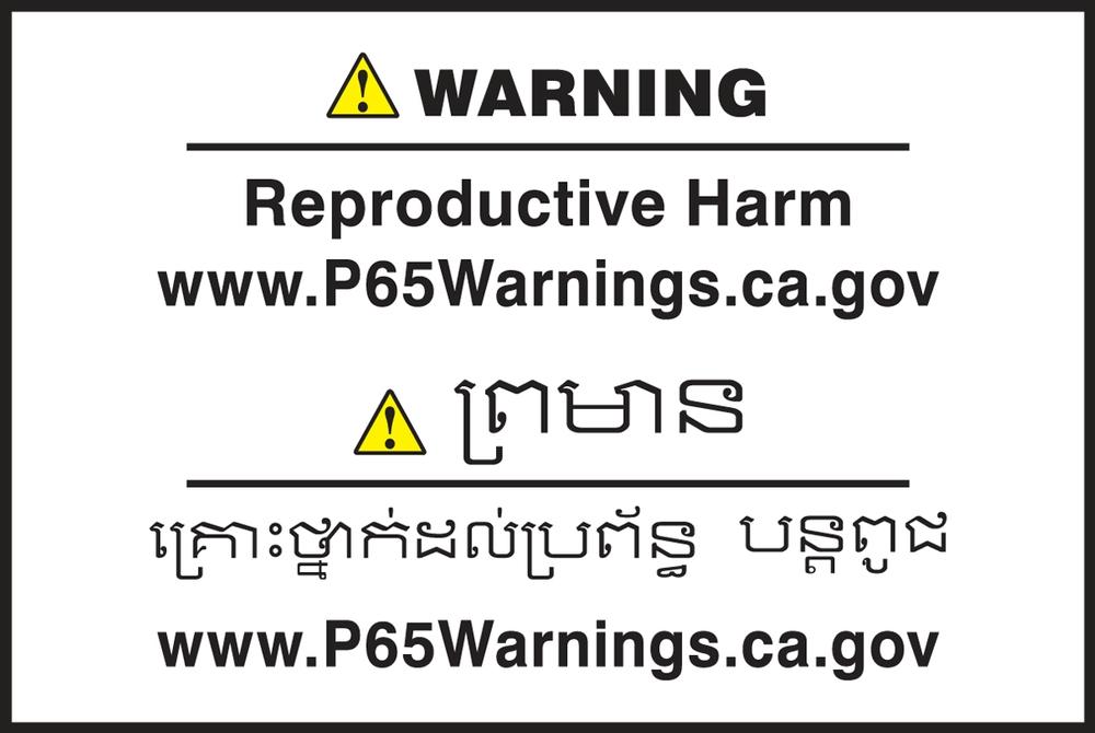 Multilingual Prop 65 Label: Reproductive Harm - CBLCAW621PSP