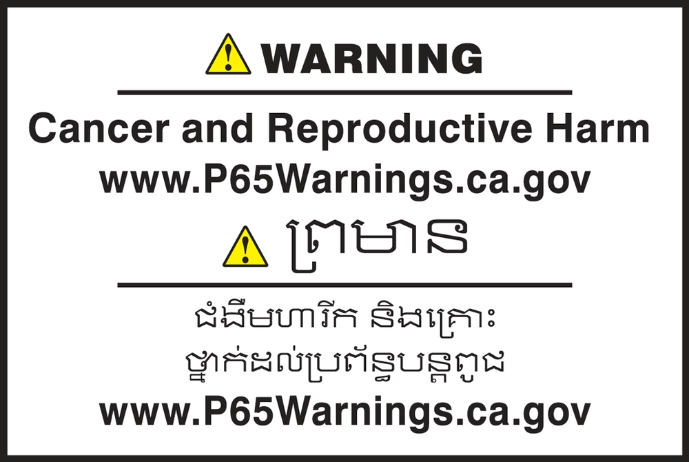 Multilingual Prop 65 Label: Cancer And Reproductive Harm - CBLCAW622PSP
