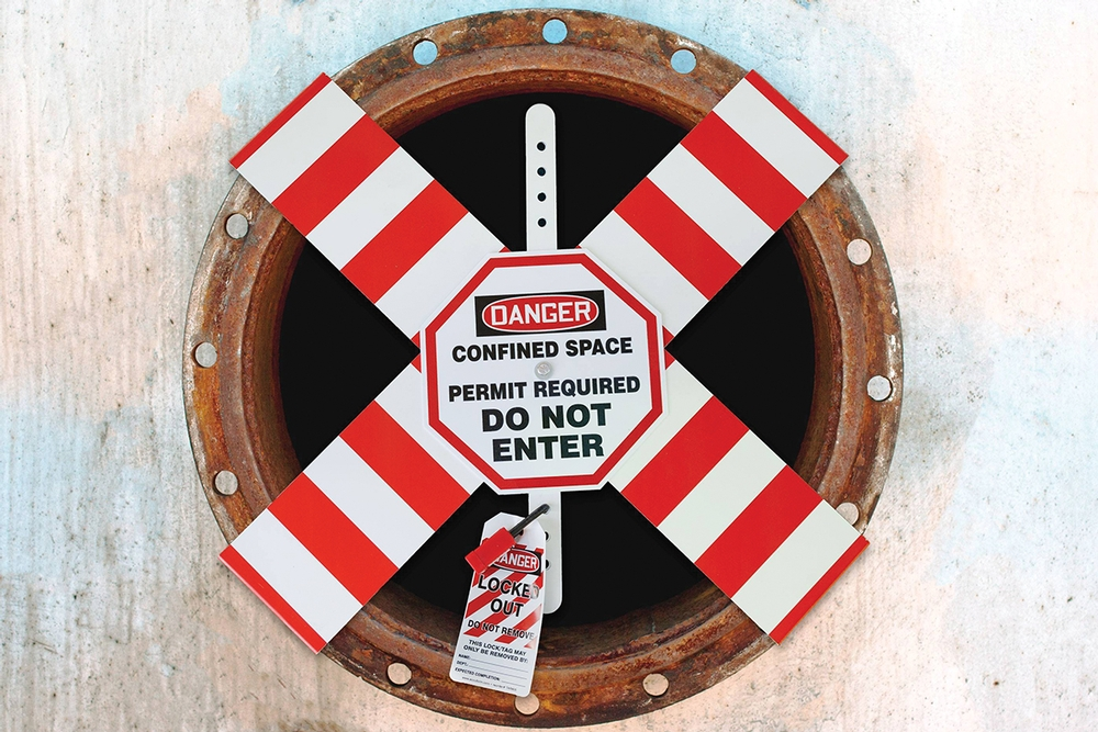 """OSHA Danger Flanged Pipe Barrier Kit: Confined Space - Permit Required - For Entry 22"""" and 24"""" - CXB802MD"""