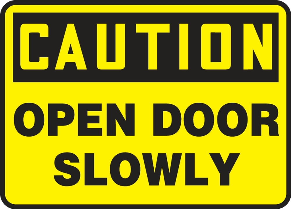 Contractor Preferred OSHA Caution Corrugated Plastic Sign: Open Door Slowly 18