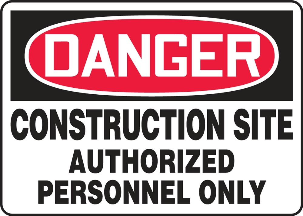 Contractor Preferred OSHA Danger Corrugated Plastic Signs: Construction Site - Authorized Personnel Only 18