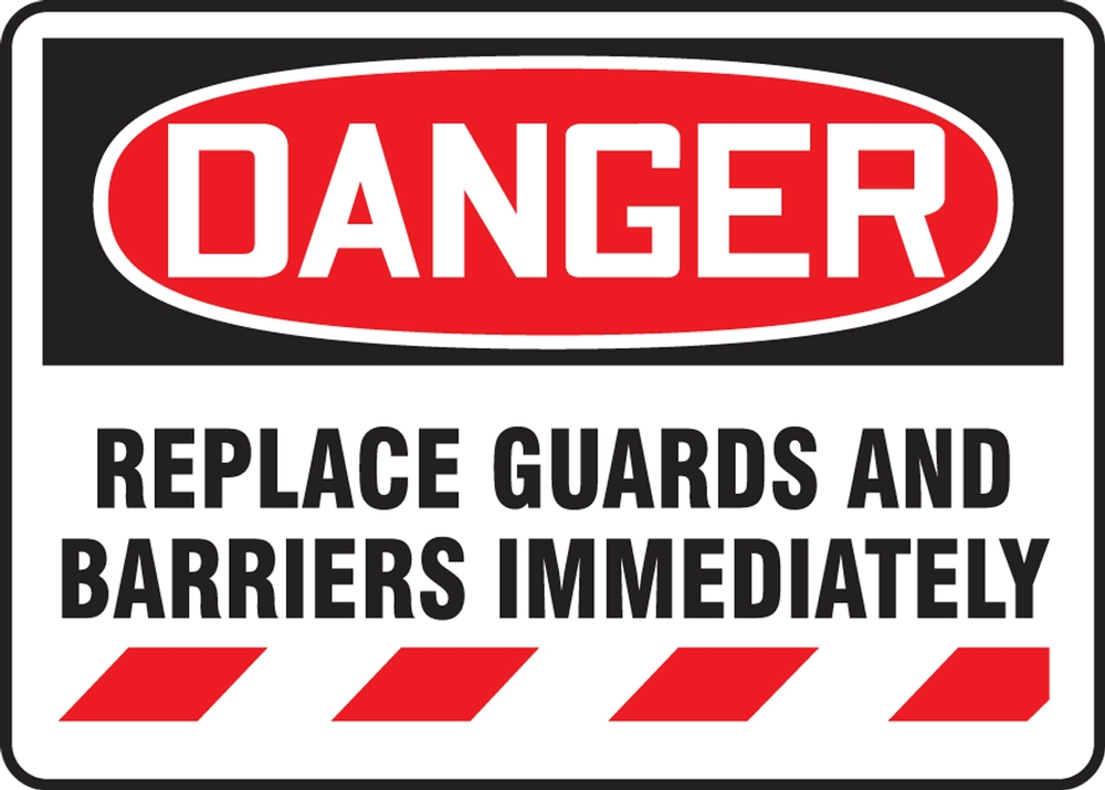 Contractor Preferred OSHA Danger Corrugated Plastic Sign: Replace Guards And Barriers Immediately 18