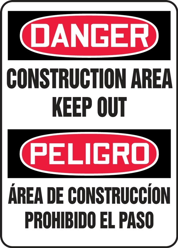 Bilingual Contractor Preferred OSHA Danger Corrugated Plastic Sign: Construction Area Keep Out 18